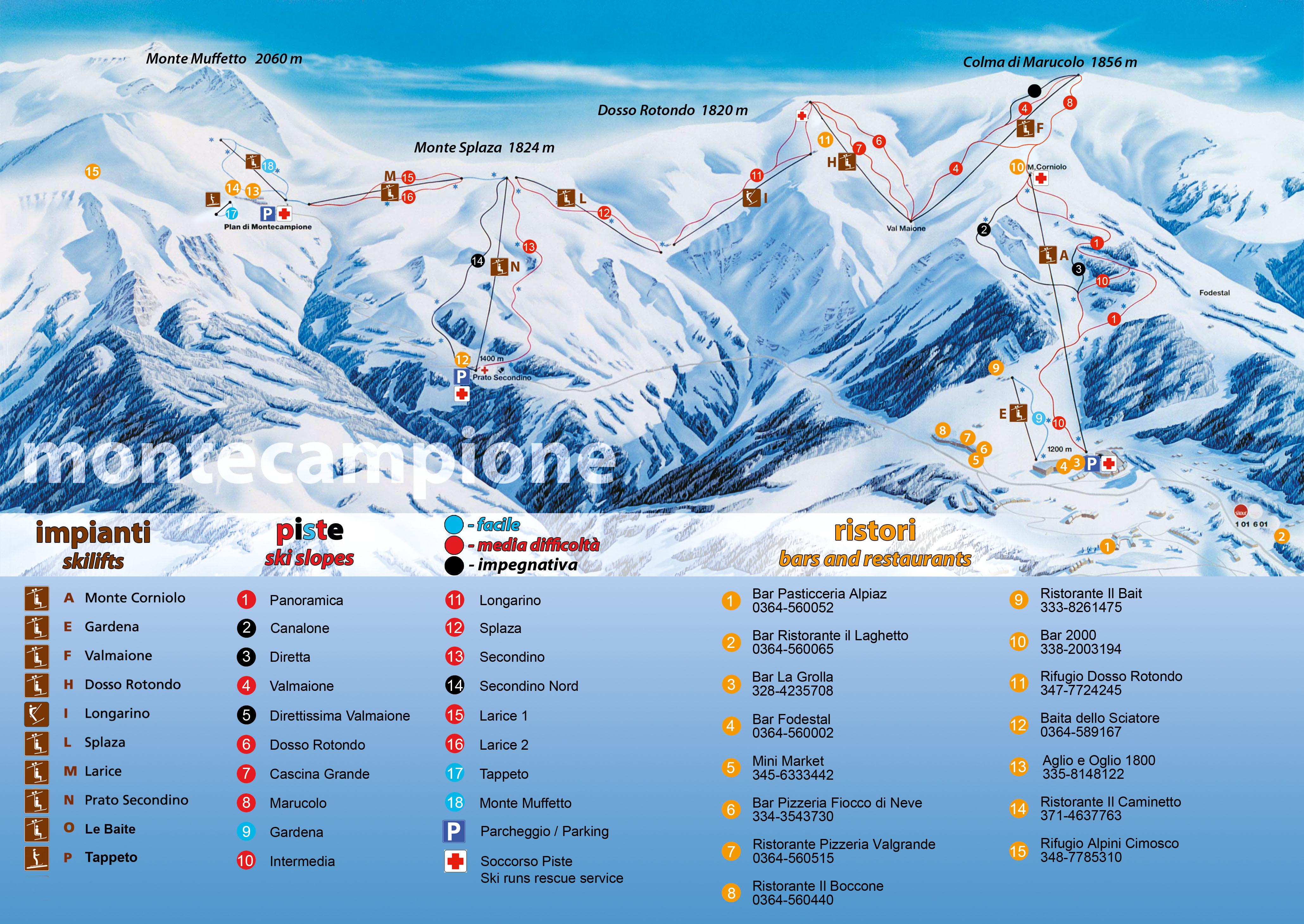 Mappa impianti sciistici Montecampione - 2020